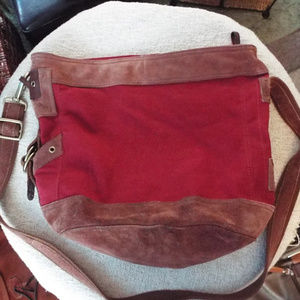 Lucky Brand Red Canvas Bucket Crossbody Bag